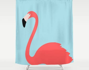 Flamingo Shower Curtain in Aqua Blue and Coral Pink, Flamingo Bathroom Decor, Teen Shower Curtain Bathroom Decor, Washable Shower Curtain