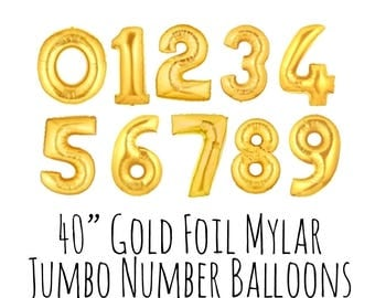 "40"" Gold Number Balloons, 40 Inch Shiny Foil Mylar Balloons, Custom Age, Pick Your Numbers, Party Decoration, Celebration, Birthday Balloons"