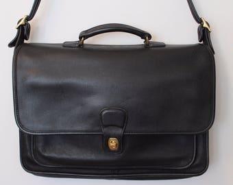 Vintage Coach Briefcase/ Black Coach Briefcase/ Black Briefcase/ Black Leather Briefcase/ Coach USA/ Coach Metropolitan Briefcase/ Attache