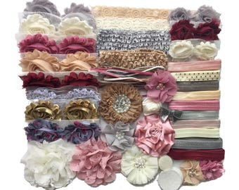 "Baby Shower Headband Kit ""Antique"", Baby Shower Headband Station, DIY Headband kit, Baby Girl Headbands, Baby Headband Kit"