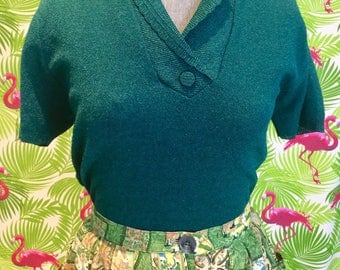 Emerald green vintage lurex knit top