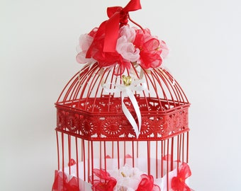 Wedding urn large bird cage red white and gold with flowers