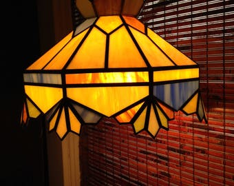 Vintage Leaded Hanging Light with Warm Colors of Amber  Orange Green and  Blue with Swag Chain