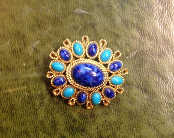 Vintage Faux Turquoise Lapis brooch,  Capi Brooch, Blue Brooch,  Blue Fashion Jewelry, Gold Tone Rope Design