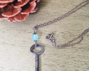 Old key and chrysoprase necklace