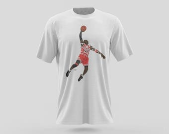 "Michael Jordan T-Shirt Design 23 t-shirts are Ethically sourced 100% Cotton. Design of MJ with the words ""Michael Jordan."""