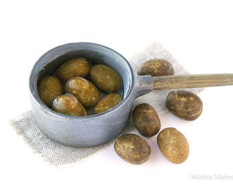 Dollhouse Miniatures  pan with potatoes in false water polymer clay food for toy vegetables for dinner