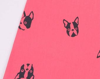 French Bulldog French Baby Terry Knit Fabric by Yard, Width 180cm (70 Inch) - Pink Color