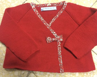 Baby girl wool wrap Cardigan red and Liberty