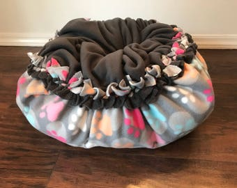 Paw Cat bed, kitten bed, dog bed, plush fleece tie bed, Raimbow Paws