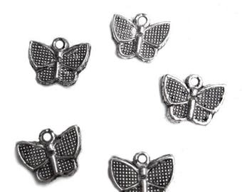Set of 4 butterflies 1.5 x 1 cm silver metal