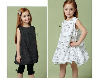Vogue Sewing Pattern V9261 Children's/Girls' Tunic and Dress with Bubble Hem, and Pull-On Leggings