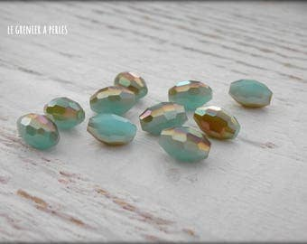 Warheads faceted Turquoise Opal AB 6 x 8 X 10 mm beads