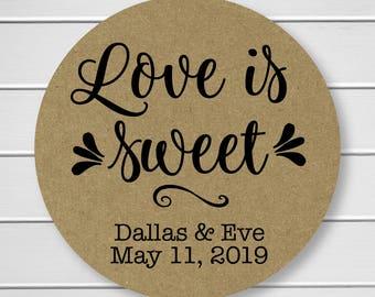 Love is Sweet Wedding Stickers, Rustic Wedding Seals, Wedding Stickers, Kraft Wedding Stickers (#222-KR)