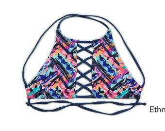 Hi-Neck Criss-Cross Tank Bikini Top, Swimsuit, Swimwear, Bathing Suit, Women's Swimwear, Criss Cross Bikini Tops