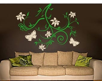 20% OFF Summer Sale Sky Bough vines and butterflies wall decal, sticker, mural, vinyl wall art