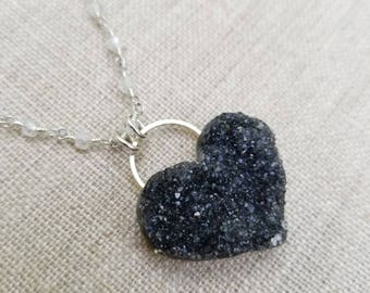 Uruguay Amethyst Druzy Heart on Sterling Silver Clear Zircon Rosary Chain - crystal necklace, handmade