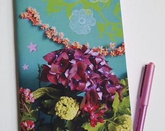 """Hydrangea and bouquet"" notebook with blanket satin paper small size"