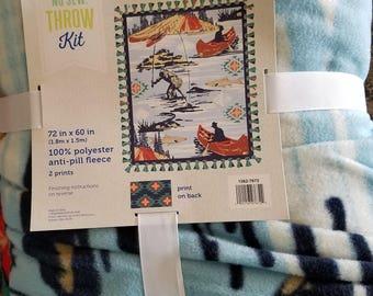 72'' No Sew Throw - Fishing Scenery
