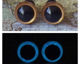 8mm Glow In The Dark Eyes, Metallic Dark Gold Safety Eyes With Blue Glow, 1 Pair Of Glow In The Dark Safety Eyes