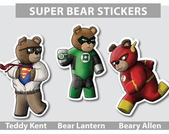 Teddy Kent, Bear Lantern & Beary Allen Stickers (DC Comics Themed Teddy Bear Stickers)