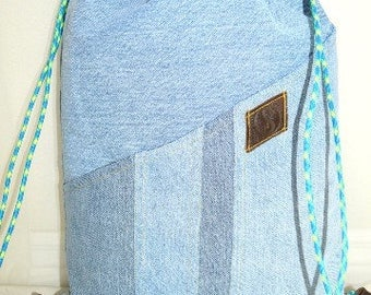Recycled Blue Jeans Drawstring Backpack.