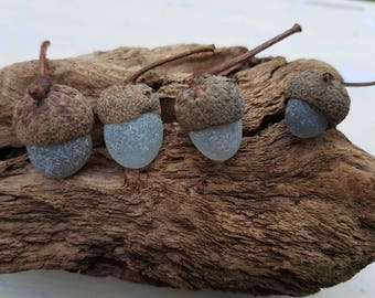 SEA GLASS ACORNS ~ Set Of 4 ~ Seaham Beach Glass ~ Christmas Tree Decorations ~ Natural ~ Recycled