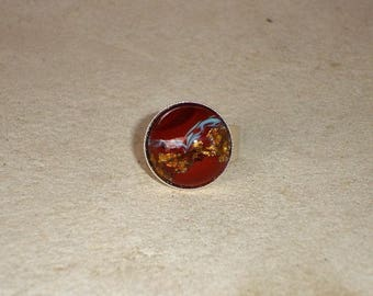 Bague rouge ambre doré verre de bohème