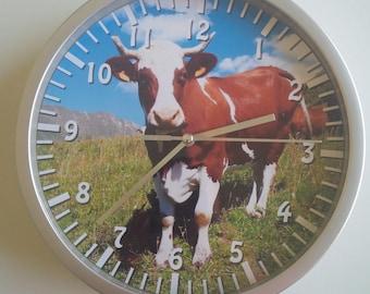 clock wall decor cow mountain