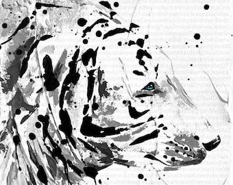 Modern painting of BEAR/TIGER 20x20cm