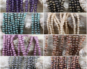 100pcs 3mm Melon Round Czech Glass Beads - pick your color!