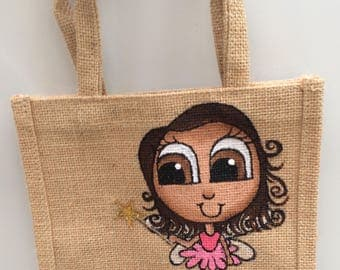Kids Ballerina Fairy bag, Small painted jute bag, can be personalised