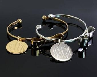 Bow Tie Bracelet with Engravable Disc