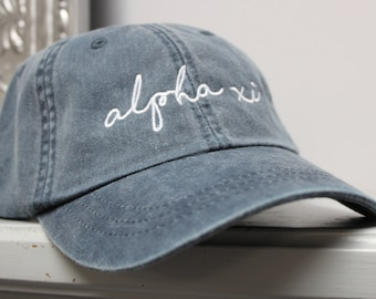 Alpha Xi Delta Navy Hat Embroidered in White Script