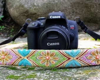 Pastel Beaded Camera Strap; Cushioned Camera Neck Strap; Unique Camera Straps; Gifts for Her;