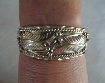 Native American Sterling Cuff Bracelet, Ornate Decorations, Stamped 35 grams, Ethnic Jewelry Vintage Jewelry , Spoon Jewelry,