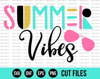 Summer SVG - SVG Files - Summer Vibes SVG - Clipart - Cut Files - Cricut Files - Silhouette Files - Vinyl Designs - Vector Files