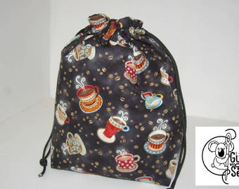 Knitting / Crochet Drawstring Project Bag. Coffee cup design! Choose the interior color!