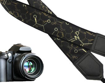 Chemistry  camera strap. DSLR Camera Strap. Black and gold camera accessory. Photo accessories by InTePro