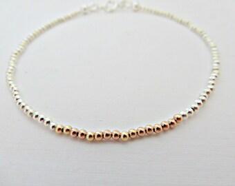 Silver & rose gold bead bracelet, Rose gold bracelet, Silver bead bracelet, Mixed metal bracelet, Tiny bead bracelet, Made in the UK