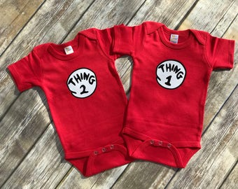 Thing 1 thing 2 bodysuits pack