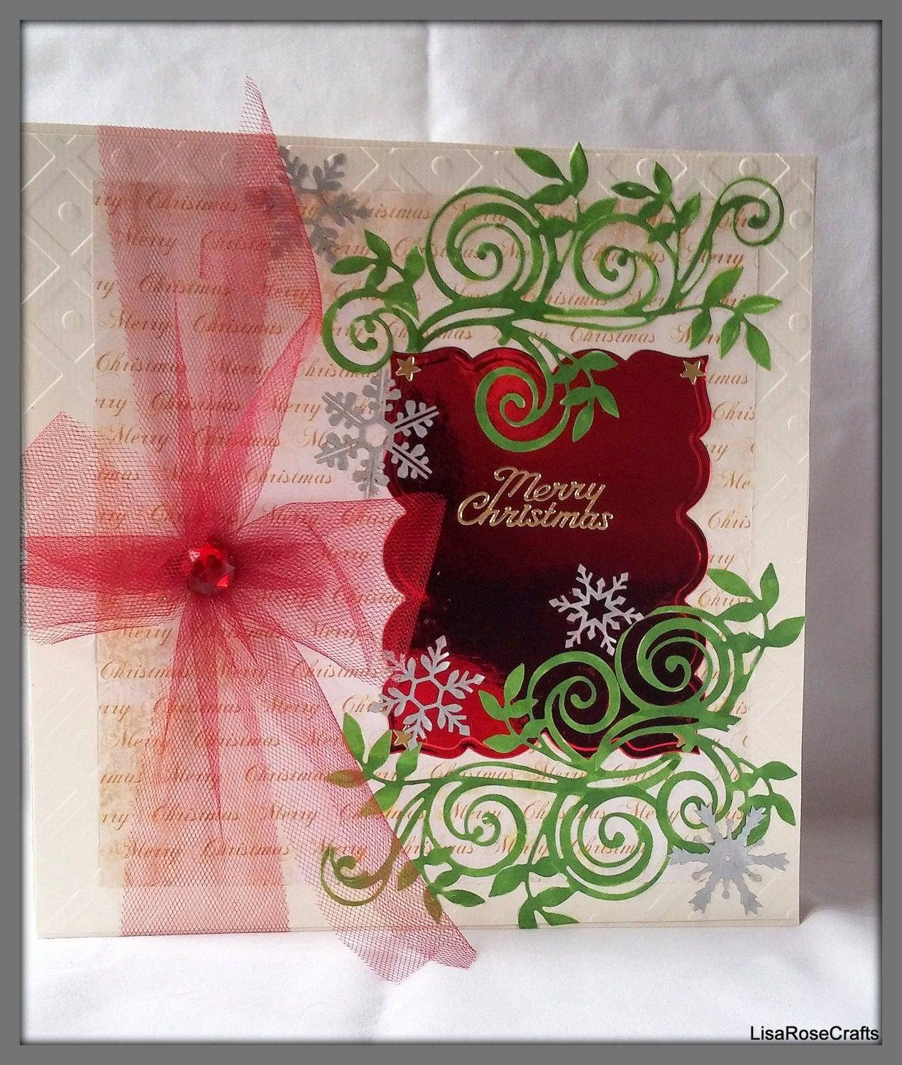 large christmas card large red ribbon fancy christmas card handmade christmas card - Fancy Christmas Cards