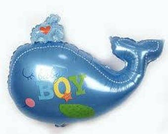 Baby Boy Blue Whale Balloon - Baby Shower / Christening / New Baby