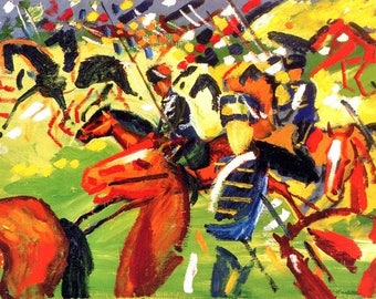 "Laminated placemat Macke ""Galloping Hussars"""