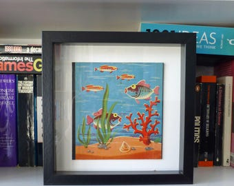 Framed Vintage Fishing Game Graphic - Original Toy Aquarium-style Side Piece - Five Fishes