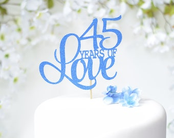 45th Wedding Anniversary Cake Topper