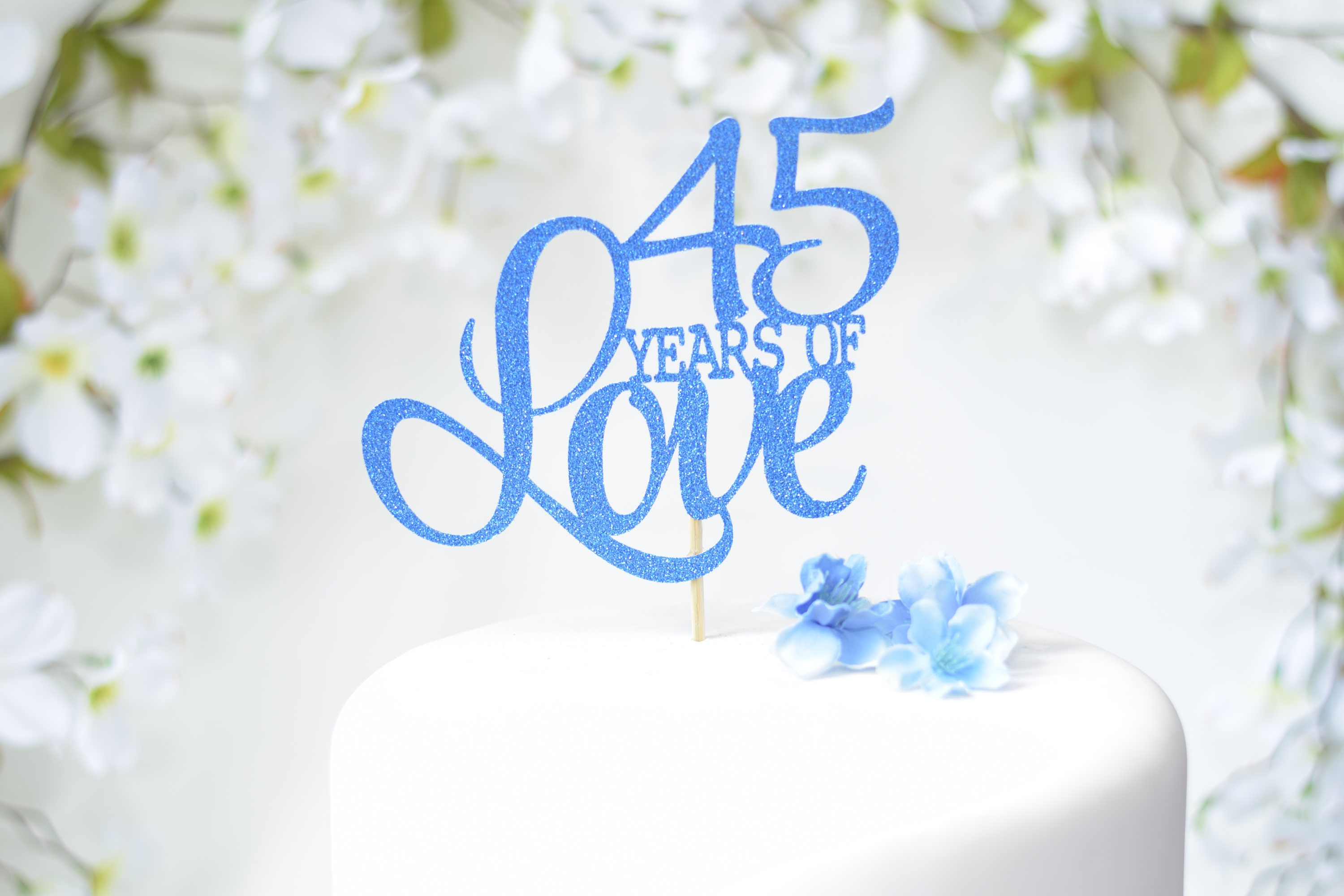 Gifts For 45th Wedding Anniversary: 45th Wedding Anniversary Cake Topper Blue Anniversary Vow