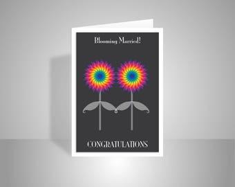 Gay wedding card,lesbian wedding card, gay greeting card, LGBT wedding card, blooming married, gay congratulations card, rainbow flowers