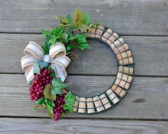 Wine Cork Wreath, Recycled Wine Cork Wreath with Grapes