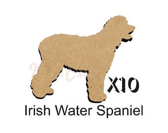 Pack of 10 IRISH Water SPANIEL Dog blanks 4 size options 25mm,50mm,75mm,100mm from 3mm MDF DOGW145